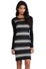 Image 1 of DEREK LAM 10 CROSBY Sheer Stripe Long Sleeve Dress in Black
