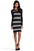Image 2 of DEREK LAM 10 CROSBY Sheer Stripe Long Sleeve Dress in Black