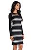 Image 3 of DEREK LAM 10 CROSBY Sheer Stripe Long Sleeve Dress in Black