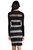 Image 4 of DEREK LAM 10 CROSBY Sheer Stripe Long Sleeve Dress in Black