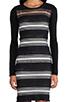 Image 5 of DEREK LAM 10 CROSBY Sheer Stripe Long Sleeve Dress in Black