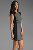 Image 3 of DEREK LAM 10 CROSBY Cap Sleeve Dress in Grey/Black