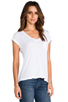 Image 2 of AG Adriano Goldschmied Pocket V Neck Tee in White