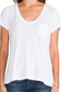 Image 4 of AG Adriano Goldschmied Pocket V Neck Tee in White