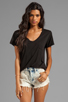 Image 1 of AG Adriano Goldschmied V-Neck Pocket Tee in Black