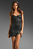 Image 1 of AGAIN Dixieland Textured Asymmetrical Tube Dress in Black