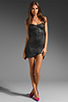 Image 2 of AGAIN Dixieland Textured Asymmetrical Tube Dress in Black