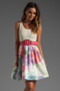 Image 1 of Alice + Olivia Omega Flower Puff Dress with Belt in Antique