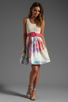 Image 2 of Alice + Olivia Omega Flower Puff Dress with Belt in Antique