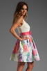 Image 3 of Alice + Olivia Omega Flower Puff Dress with Belt in Antique