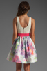 Image 4 of Alice + Olivia Omega Flower Puff Dress with Belt in Antique