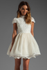 Image 1 of Alice + Olivia Fyona Lace Bodice Party Dress in Off White