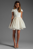 Image 2 of Alice + Olivia Fyona Lace Bodice Party Dress in Off White