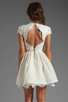 Image 4 of Alice + Olivia Fyona Lace Bodice Party Dress in Off White