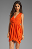 Image 1 of Alice + Olivia Cynthia Draped Tulip Skirt Dress in Sunset Orange