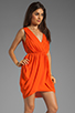 Image 3 of Alice + Olivia Cynthia Draped Tulip Skirt Dress in Sunset Orange