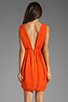 Image 4 of Alice + Olivia Cynthia Draped Tulip Skirt Dress in Sunset Orange