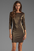Image 1 of Alice + Olivia Cameo Cutout Back Fitted Dress in Black/Gold