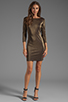 Image 2 of Alice + Olivia Cameo Cutout Back Fitted Dress in Black/Gold