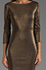 Image 5 of Alice + Olivia Cameo Cutout Back Fitted Dress in Black/Gold