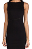 Image 5 of Alice + Olivia Darcey Sleeveless Leather Piped Dress in Black/Black