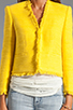 Image 4 of Alice + Olivia Princeton Open Front Box Jacket in Light Yellow