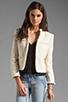 Image 1 of Alice + Olivia Fae High Collar Open Front Box Jacket in Cream Metallic