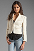 Image 2 of Alice + Olivia Fae High Collar Open Front Box Jacket in Cream Metallic