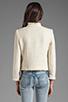Image 3 of Alice + Olivia Fae High Collar Open Front Box Jacket in Cream Metallic