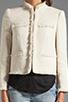 Image 4 of Alice + Olivia Fae High Collar Open Front Box Jacket in Cream Metallic