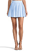 Image 1 of Alice + Olivia Box Pleat Leather Skirt in Sky Blue