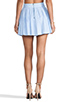 Image 3 of Alice + Olivia Box Pleat Leather Skirt in Sky Blue