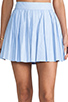 Image 4 of Alice + Olivia Box Pleat Leather Skirt in Sky Blue