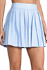 Image 5 of Alice + Olivia Box Pleat Leather Skirt in Sky Blue