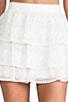 Image 4 of Alice + Olivia Ruba Crochet Beaded Ruffle Skirt in Off White
