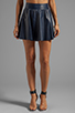 Image 1 of Alice + Olivia Luann Leather Flared Skirt in Navy