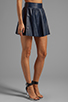 Image 2 of Alice + Olivia Luann Leather Flared Skirt in Navy