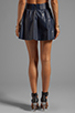 Image 3 of Alice + Olivia Luann Leather Flared Skirt in Navy