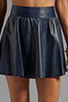 Image 4 of Alice + Olivia Luann Leather Flared Skirt in Navy