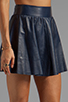 Image 5 of Alice + Olivia Luann Leather Flared Skirt in Navy