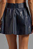 Image 6 of Alice + Olivia Luann Leather Flared Skirt in Navy