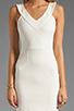 Image 5 of Amanda Uprichard V Neck Ponte Dress in Cream