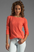 Image 1 of Autumn Cashmere Cable Diamond Pointelle Boatneck in Coral