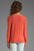 Image 2 of Autumn Cashmere Cable Diamond Pointelle Boatneck in Coral