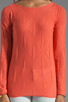Image 3 of Autumn Cashmere Cable Diamond Pointelle Boatneck in Coral