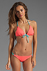 Image 1 of Julie Henderson for Basta Surf Reversible Palmas T-Back Braided Bikini Top in Bright Coral/Zebra/Aqua