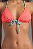 Image 4 of Julie Henderson for Basta Surf Reversible Palmas T-Back Braided Bikini Top in Bright Coral/Zebra/Aqua