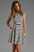Image 1 of BB Dakota Zamora Stripe Rayon Dress in Black/Optic White
