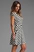 Image 3 of BB Dakota Zamora Stripe Rayon Dress in Black/Optic White