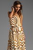 Image 1 of BB Dakota Imelda Golden Pyramid Printed Chiffon Maxi Dress in Gold